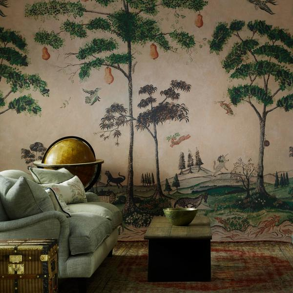 Kaye Watson-Smyth and Sophie Robinson discuss new ways with wallpapers on the Great Indoors podcast. Here the mythical land panel wallpaper by andrew martin adds a sense of drama and is a new take on the mural. #wallpaper #thegreatindoors #madaboutthehouse